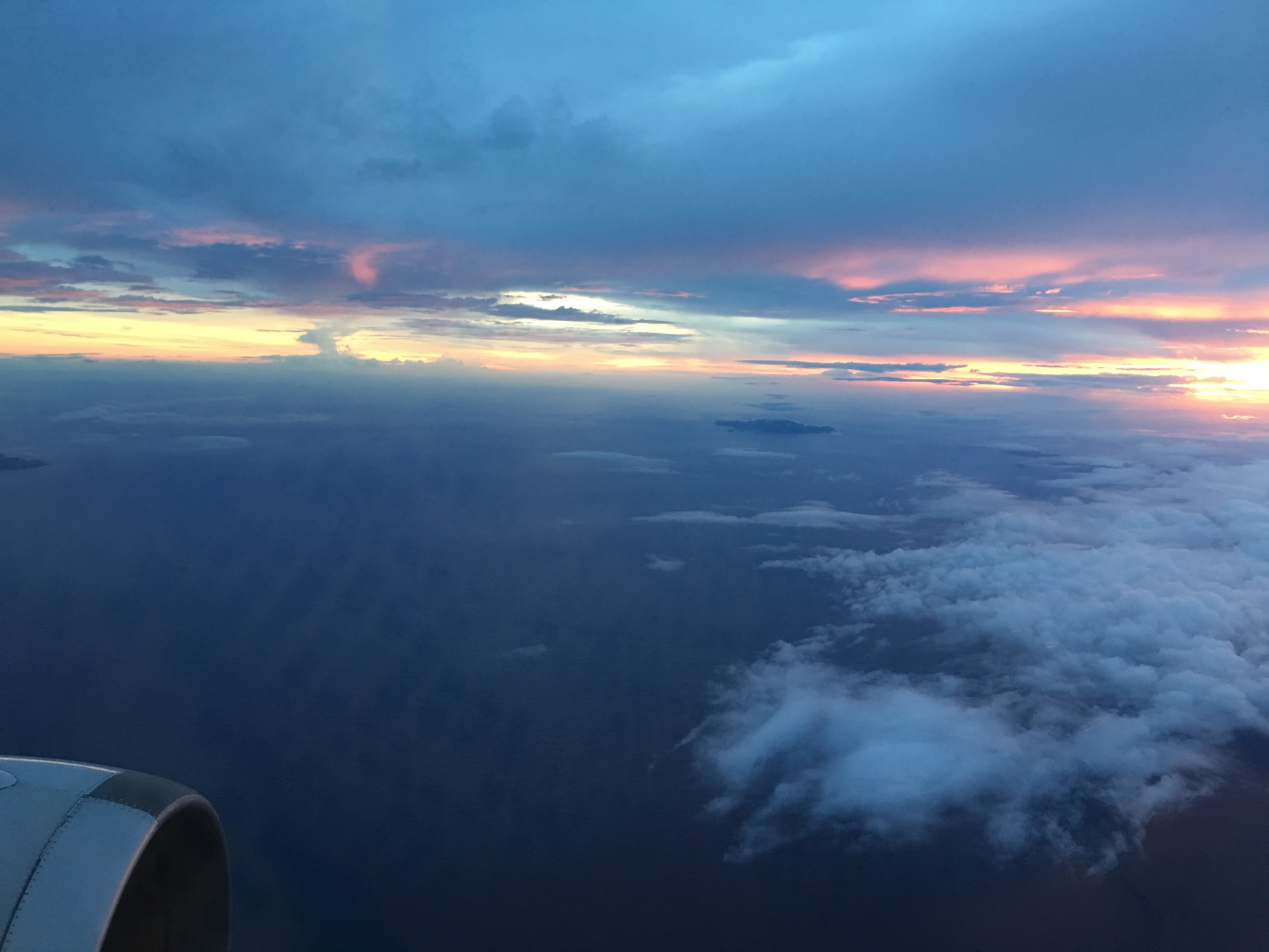 Sun setting over Hachijima on the flight back to the mainland