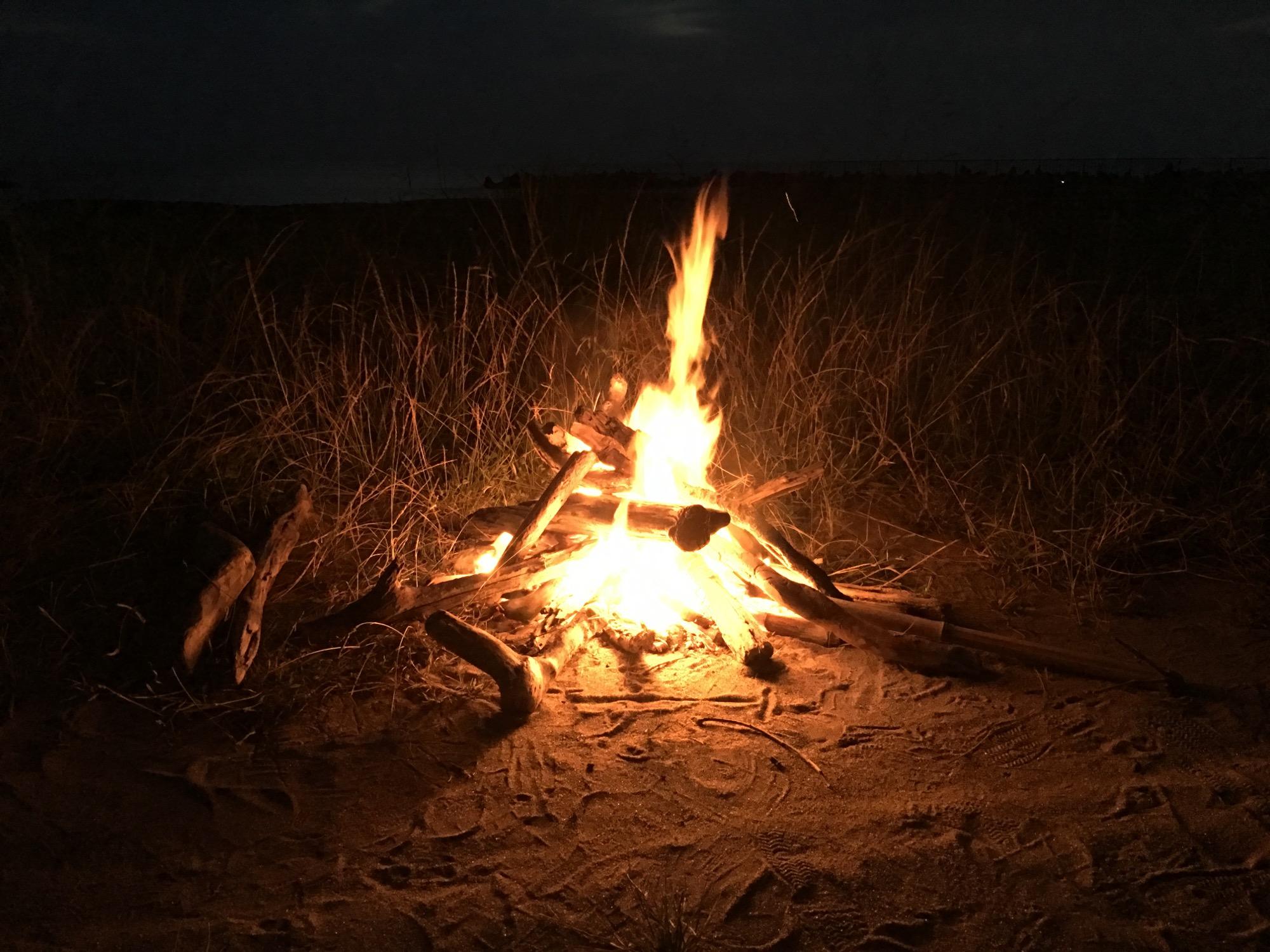 Our Suruga Bay-side campfire.