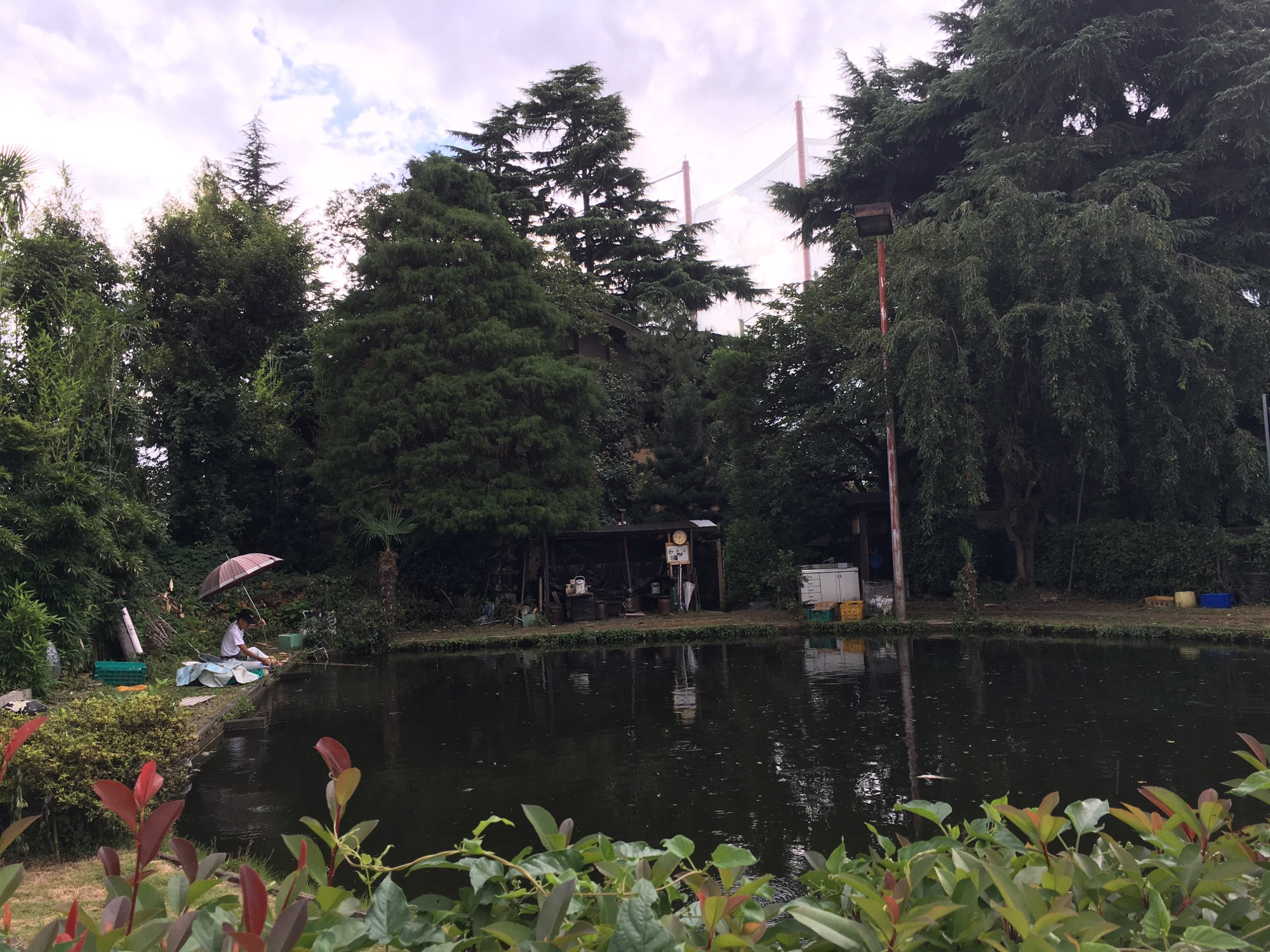 A nearby fishing pond