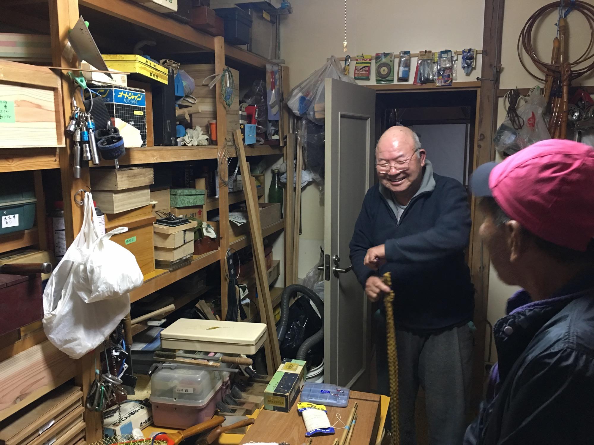 His wood shop