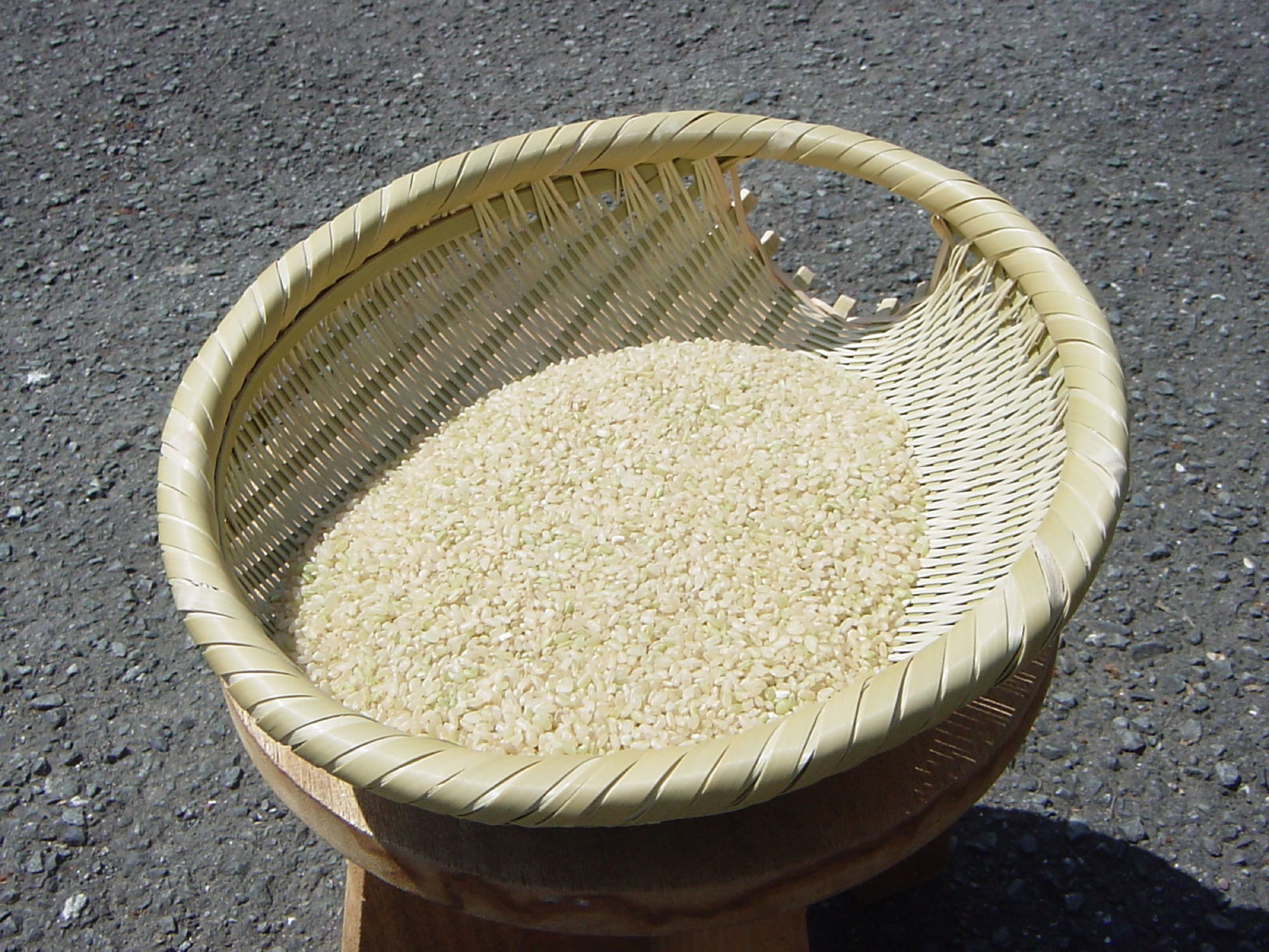 A Japanese basket filled with rice