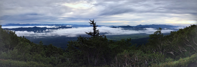 Panorama climbing Mount Fuji