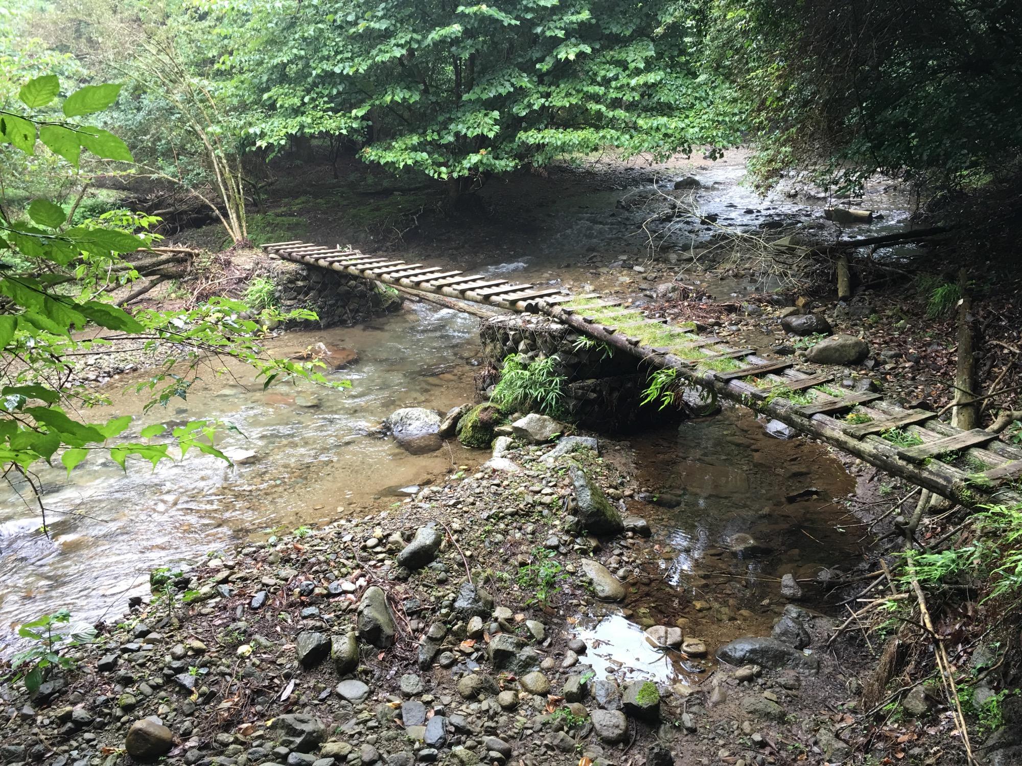 A quaint footbridge over the keiryu